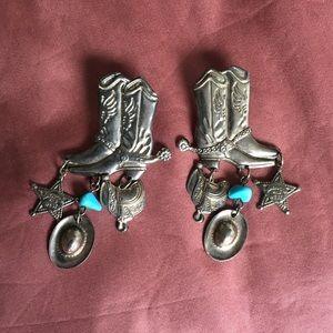 Boot Scoot N'Boogie Vtg. Western Earrings